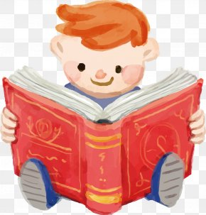 Cartoon Child Vector - Book Reading PNG