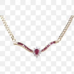 Necklace - Necklace Gold Jewellery Estate Jewelry Ruby PNG