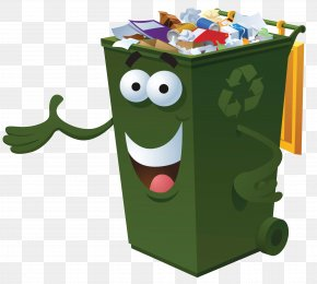 Green Trash Can - Waste Container Recycling Bin Paper PNG