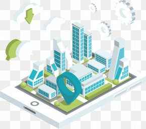 Smart City On Mobile Phones - Cloud Computing Euclidean Vector Microsoft Azure Isometric Projection Email PNG