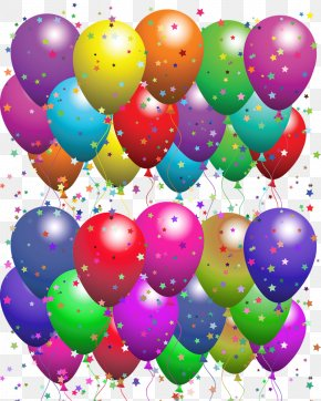 Colored Stars A Lot Of Balloons - Happy Birthday To You Greeting Card Balloon Wish PNG