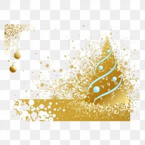 Vector Christmas Tree And Golden Ribbon - Christmas Tree Euclidean Vector PNG