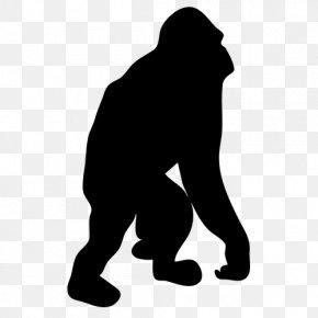 Silhouette - Ape Primate Silhouette Clip Art PNG
