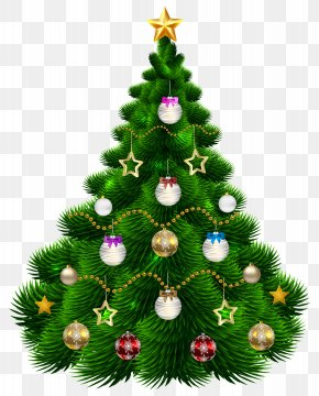 Beautiful Christmas Tree With Ornaments Clip-Art Image - Christmas Tree Christmas Ornament Clip Art PNG