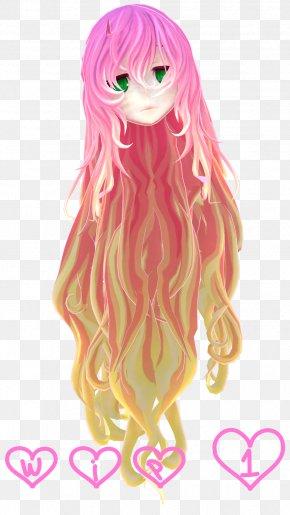 Mmd Casual - Illustration Cartoon Doll Long Hair Pink M PNG