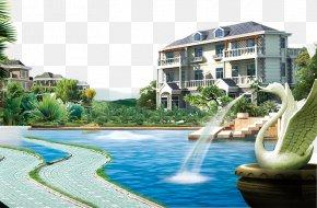 Fountain Lake Real Estate Ad Elements - Advertising Villa Real Estate Gratis PNG