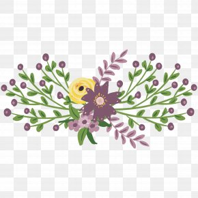 Purple Flowers - Floral Design Watercolor Painting Flower PNG