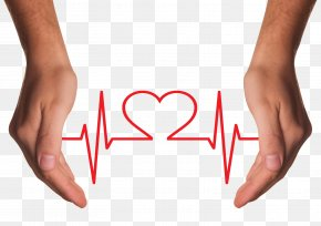 Hands Holding Red Heart With ECG Line - Health Care Chronic Condition Disease Asthma PNG