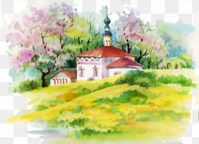 Decorative Beautiful Scenery And Fresh Cottage - Watercolor Painting House Illustration PNG