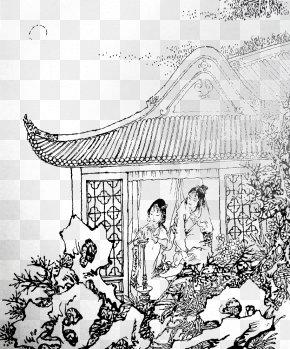 Jia Baoyu Comic Book - Dream Of The Red Chamber Black And White Cartoon Sketch PNG