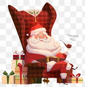 Santa Claus On Chair Transparent Clip Art Image - Santa Claus House Mrs. Claus Table Chair PNG