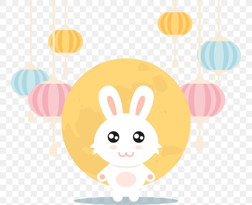Moon Rabbit Easter Bunny Mid-Autumn Festival Lantern Festival, PNG, 750x666px, Easter Bunny, Clip Art, Easter, Festival, Illustration Download Free