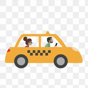 Vector Yellow Taxi - Car Taxi Driving Vehicle PNG