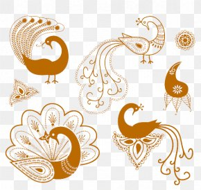Simple Graphics Yellow Peacock - Mehndi Henna Tattoo Symbol PNG
