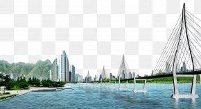 Urban River Bridge Pull Material Free - River Download PNG