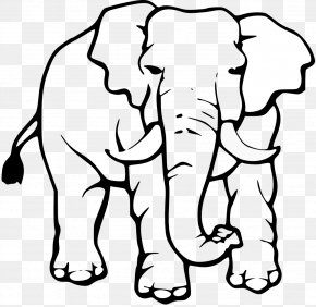 White Elephant Clipart - Asian Elephant Black And White Clip Art PNG