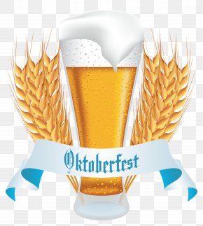 Oktoberfest Beer With Wheat Banner Clipart Image - Oktoberfest Wheat Beer Beer Glassware Clip Art PNG