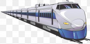 A Blue Pattern; A Silhouette Of A High Iron - Toy Train Rail Transport High-speed Rail Clip Art PNG