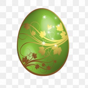 Large Green Easter Egg With Gold Ornaments - Easter Bunny Red Easter Egg Clip Art PNG