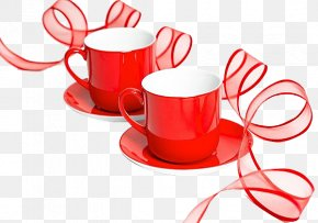 Red Cup Red Ribbon - Valentines Day Happiness Greeting Card Wish Love PNG