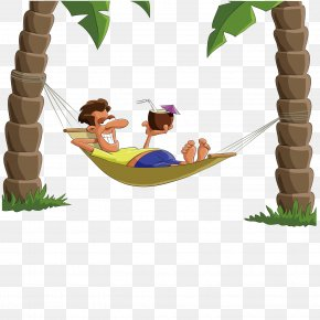Lying On Top Of The Hammock Man - Drawing PNG