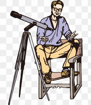 Hand-painted Cartoon Man Sitting On A Chair Telescope - Chair Telescope Cartoon Clip Art PNG