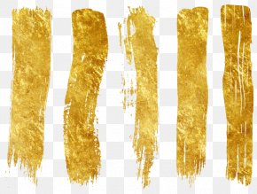 Vector Hand-painted Gold Strokes - Painting PNG