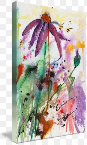Purple Watercolor Painting - Watercolor Painting Floral Design Canvas Print PNG