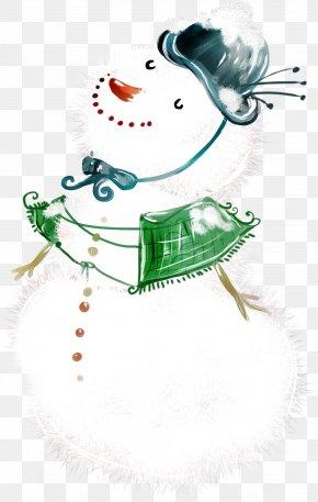 Cute Winter Snowman - Artist Trading Cards Painting Snowman Wallpaper PNG