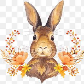 Cute Bunny - Autumn Leaf Color Harvest Thanksgiving PNG