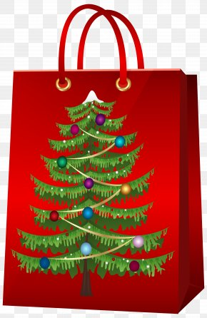 Christmas Gift Bag With Christmas Tree Clip Art Image - Santa Claus Christmas Gift Clip Art PNG