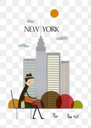 New York City And Man - New York City Poster Art Illustration PNG