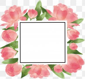Romantic Pink Flower Photo Frame - Paper Watercolor Painting Picture Frame Flower PNG