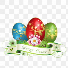 Happy Easter Eggs Decoration - Easter Bunny Greeting Card Easter Postcard PNG