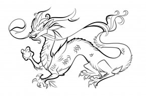 Japanese Line Art - Drawing Chinese Dragon Chinese New Year Clip Art PNG