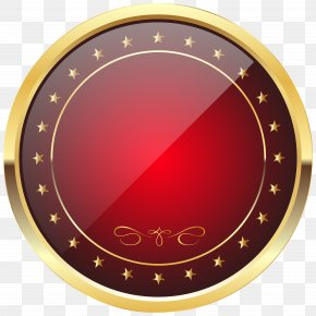 Red And Gold Badge Template Transparent Clip Art Image - Rolex GMT Master II Gold Badge Clip Art PNG