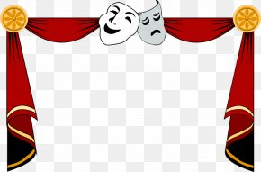 Drama Masks Clipart - Cinema Theatre Theater Drapes And Stage Curtains Clip Art PNG