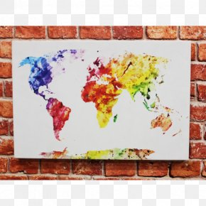 Watercolor Splash - World Map Stock Photography Watercolor Painting Mural PNG