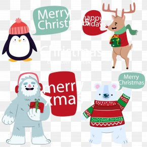 Hand-painted Christmas Vector Elements - Polar Bear Christmas Clip Art PNG