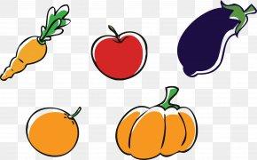 Cartoon Eggplant Fruits And Vegetables Carrots Apples Oranges - Apple Pumpkin Vegetable Clip Art PNG