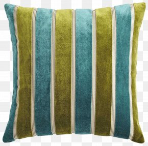 Striped Pillow - Throw Pillow Cushion Couch Teal PNG