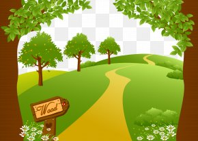 Vector Woods Road - Drawing Euclidean Vector Landscape Illustration PNG