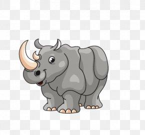 Cartoon Rhino - Rhinoceros Cartoon Illustration PNG