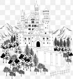 Black And White Castle Construction Line Chart - Architecture Castle Black And White PNG