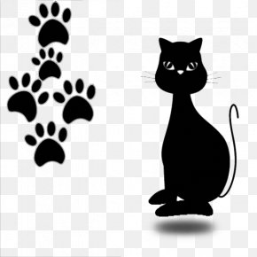 Cute Cartoons, Black Cats And Footprints - Cat Kitten Drawing Illustration PNG