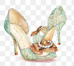 Watercolor High-heeled Shoes - Shoe High-heeled Footwear Drawing Fashion Illustration Illustration PNG