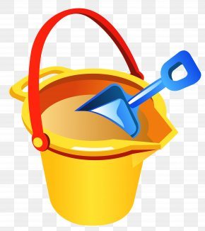 Transparent Beach Bucket And Shovel Clipart - Bucket Beach Sand PNG