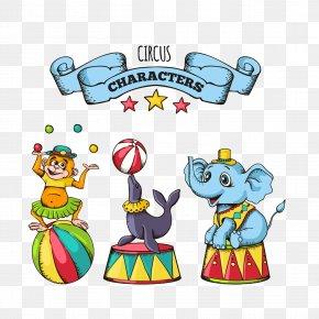 Cartoon Circus Animals - Circus Performance Cartoon PNG