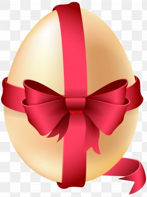 Easter Egg With Red Bow Clip Art Image - Easter Bunny Red Easter Egg PNG