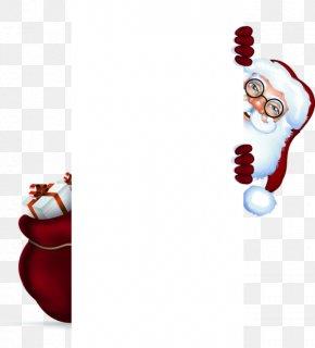 Cartoon Santa Claus Hiding Decorative Frames - Santa Claus Christmas Ornament Gwiazdor PNG